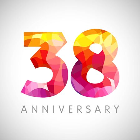 38 th anniversary numbers. 38 years old yellow colored logotype. Age congrats, congratulation idea. Isolated abstract graphic design template. Creative 3, 8 3D digits. Up to 38% percent off discount Ilustrace