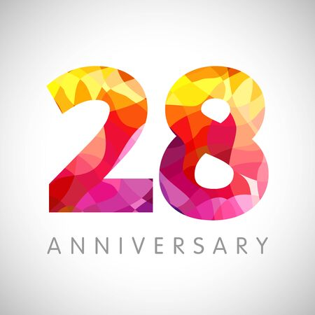 28th anniversary numbers. 28 years old yellow colored logotype. Age congrats, congratulation idea. Isolated abstract graphic design template. Creative 2, 8 3D digits. Up to 28% percent off discount