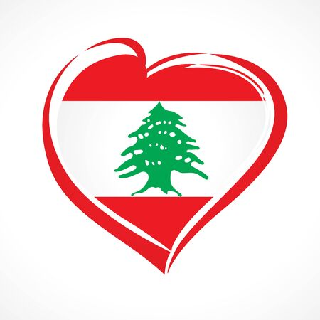 Love Lebanon colored heart sign. Lebanon emblem for Lebanese Independence Day on November 22, isolated on a white background. Vector illustration