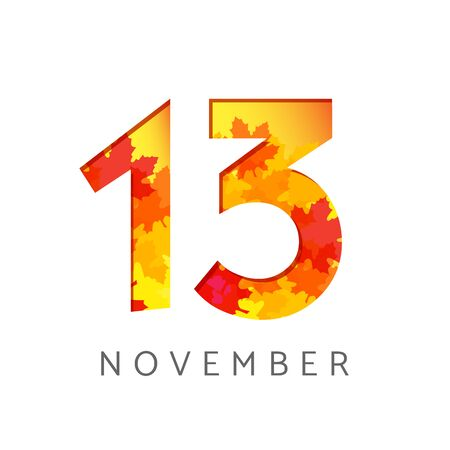 13 th of November calendar numbers. 13 years old autumn. Anniversary digits with leaves. Isolated abstract graphic design template. White background. Up to 13% percent off creative discount.