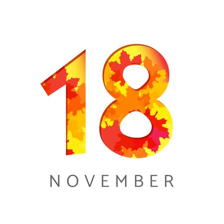 18 th of November calendar numbers. 18 years old autumn. Anniversary digits with leaves. Isolated abstract graphic design template. White background. Up to 18% percent off creative discount.