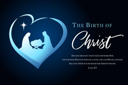 Christmas scene of baby Jesus in the manger with Mary and Joseph silhouette in heart. Christian Nativity with lettering The Birth of Christ and Bible text Luke 2: 7, vector banner