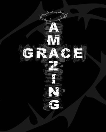 Amazing Grace - texto en forma de cruz. Cita del cristianismo para el diseño de camisetas. Cartel bíblico de tipografía, fondo de vector