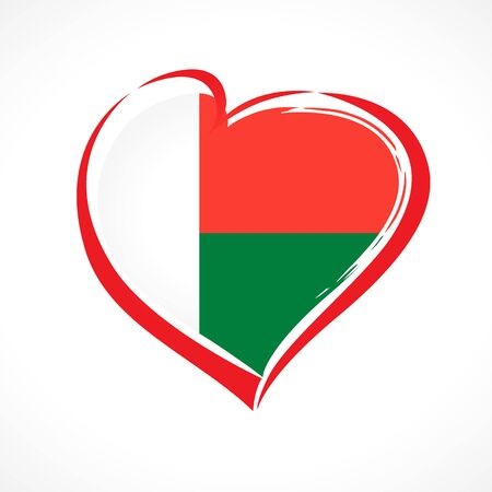 Love Madagascar, heart flag emblem in national colors. Flag of Malagasy with heart shape for Anniversary of the Democratic Republic of Madagascar, December 30. Vector illustration
