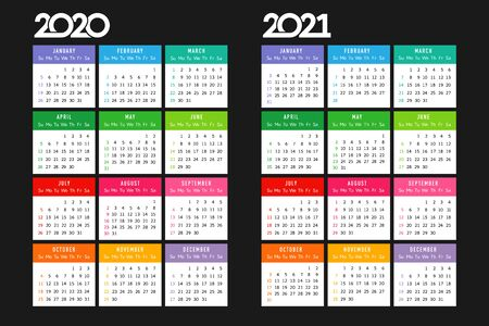 Calendar 2020 - 2021. Square schedule layout. Xmas logotype in minimalism style. Abstract isolated graphic design template. USA holidays. Black background, colored date papers Illustration
