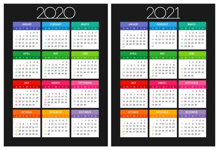 Calendar 2020 - 2021. Square schedule layout. Xmas logotype in minimalism style. Abstract isolated graphic design template. USA holidays. Black background, colored date papers.