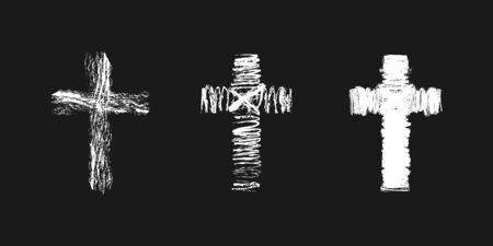 Cross concept in brushing style. Christian church vector. Set of white colored crucifixions. Religious symbols. Abstract isolated graphic web design template. Creative ideas, black background.