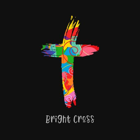 Cross concept in brushing style. Christian church vector. Colored crucifixion. Religious symbol and lettering concept. Abstract isolated graphic design template. Creative idea, black background