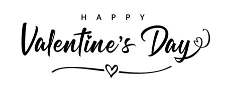 Lettering Happy Valentines Day banner. Valentines Day greeting card template with black typography text happy valentine`s day and heart in line on background. Vector illustration