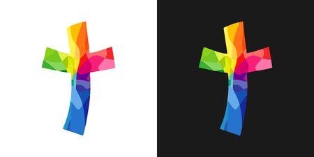 Logotipo cruzado. Logotipo de vector de iglesia cristiana. Crucifixión de vidrieras. Símbolo religioso, concepto de tarjeta de felicitación. Plantilla de diseño gráfico aislado abstracto. Idea creativa, fondo blanco y negro.