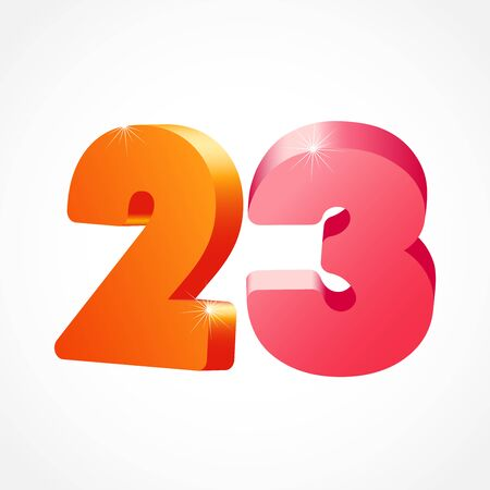 23 rd anniversary numbers. 23 years old colored logotype. Age congrats, congratulation idea. Isolated abstract graphic design template. Creative 2, 3 3D digits. Up to 23%, -23% percent off discount.