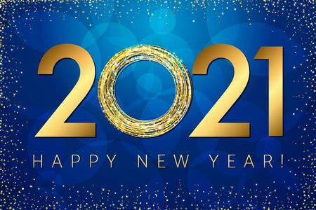 2021 A Happy New Year greeting card. Blue background. Seasonal numbers and text. Holiday. Abstract isolated graphic design template. Calender title. Birthday golden digits 20, 21, 0. Letter O