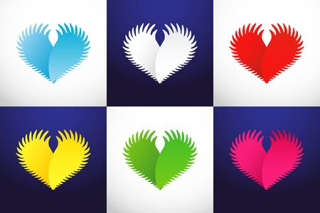 Heart as wings. Creative icon on white and dark sky blue background. Abstract isolated graphic design template. Branding concept. element, colored collection. Flying in heaven 3D heart set Illustration