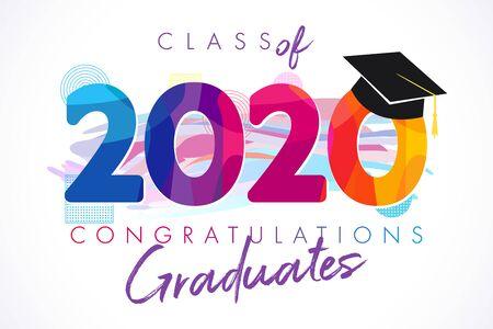 Clase de banner de graduación del año 2020, concepto de premios. Idea de camiseta, tarjeta de invitación de colores de vacaciones, embem brillante. Números aislados, plantilla de diseño gráfico abstracto. Trazos de pincel, fondo blanco. Ilustración de vector