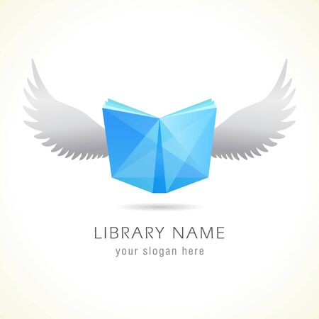 Flying book design. Isolated abstract graphic design template. Stained glass blue book and bird white wings, creative smartphone application emblem. Educational sign, library symbol. Branding identity