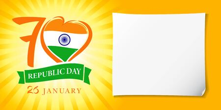 Love India, heart banner in national flag colors and Republic Day text on ribbon. 70 years and Indian flag with heart shape, holiday of 26 January isolated on yellow background. Vector illustration Ilustração