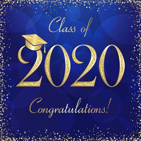Bannière de remise des diplômes de la classe de 2020, concept de récompenses. Signe brillant, carte d'invitation de joyeuses fêtes, cadre doré, texte. Modèle de conception graphique abstrait isolé. Fond de style de couleur bleu profond. Vecteurs