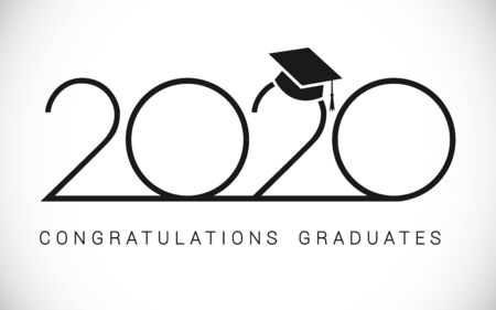Class of 2020 year graduation banner, awards concept. Outline sign, happy holiday invitation card, thin digits, congratulation text. Isolated abstract graphic design template. Monochrome color style