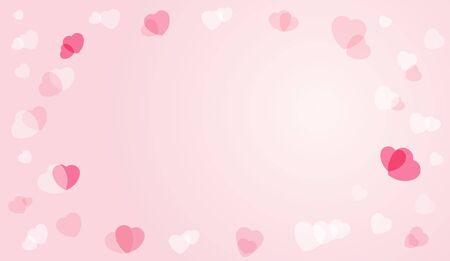 Valentines hearts postcard. Hearts flying elements on pink background. Vector symbols of love in shape of heart for Happy Womens, Mothers, Valentines Day, wedding greeting card design Illustration