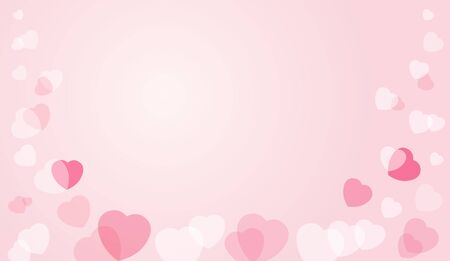 Hearts flying on pink background Valentine design. Vector symbols of love in shape of heart for Happy Womens, Mothers, Valentines Day, wedding greeting card design Illustration