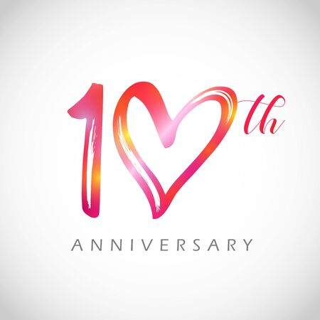 10 years old logotype. 10 th anniversary numbers. Decorative symbol. Congrats in brushing style. Isolated abstract graphic design template. Red digits, up to 10%, -10% percent off discount concept. Ilustração