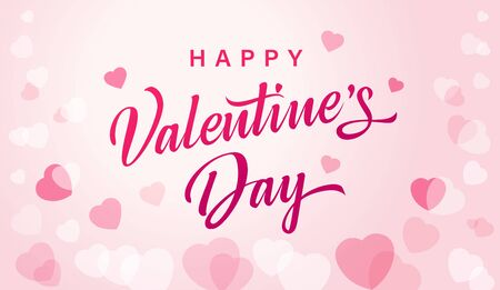 Happy Valentines Day greeting card with flying watercolor pink hearts. Vector symbols of love in shape of heart for Happy Valentines, Womens, Mothers Day, wedding greeting card design Illustration