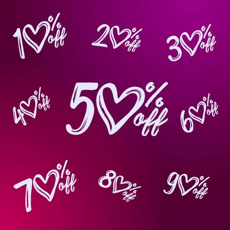 Sale heart numbers set. Creative discount digits 50%, up to 10 - 90% off. Collection in brush style calligraphy. Abstract isolated graphic design template. Outline vector mask concept. Ilustracja
