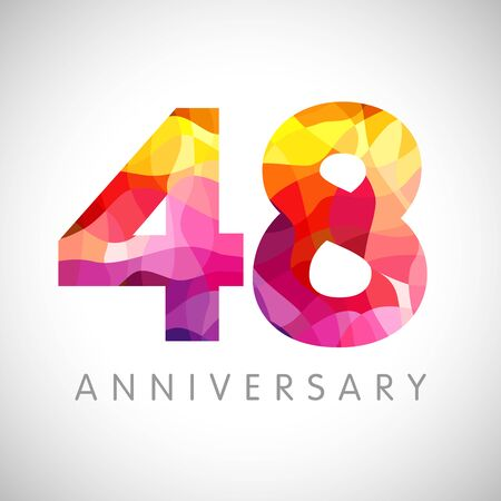 48th anniversary numbers. 48 years old facet logotype. Age congrats, congratulation idea. Isolated abstract graphic design template. Creative 4, 8 3D yellow red digits. Up to 48% percent off discount