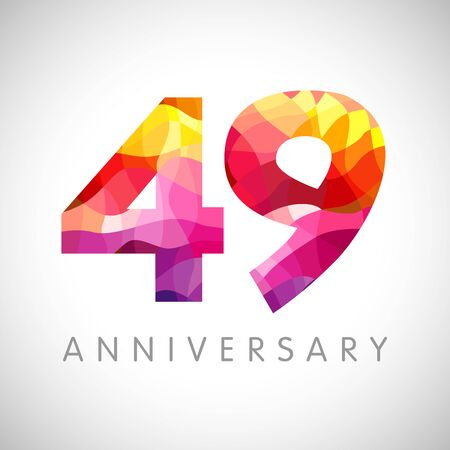 49th anniversary numbers. 49 years old facet logotype. Age congrats, congratulation idea. Isolated abstract graphic design template. Creative 4, 9 3D yellow red digits. Up to 49% percent off discount