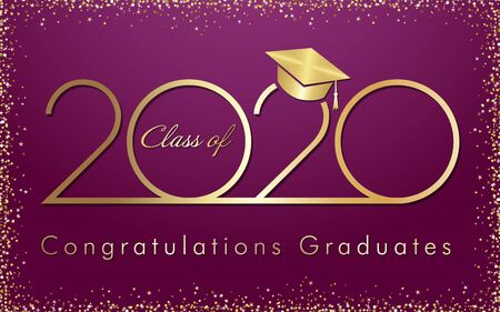 Class of 2020 year graduation banner, awards concept. Shining sign, happy holiday invitation card