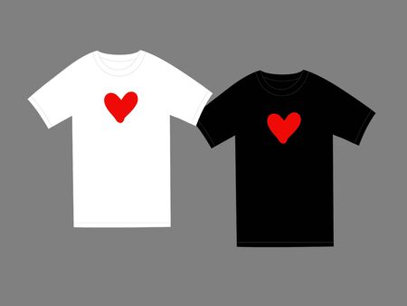 Red heart, t-shirt cute small logo. Love design isolated on white and black apparel for wedding, mother, woman or valentine`s day. Vector illustration Standard-Bild - 138826137