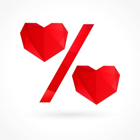 Valentine percent heart sale sign. Vector illustration design for Valentine`s Day fashion discount banner. Graphic symbol love facet