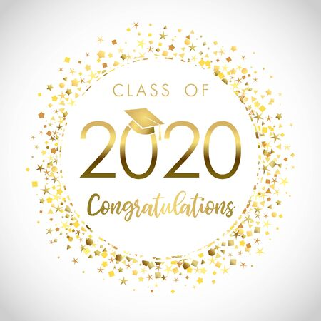 Class of 2020 year graduation banner, awards concept. Shining sign, happy holiday invitation card, golden circle. Isolated abstract graphic design template. Brushing text, round ball white background