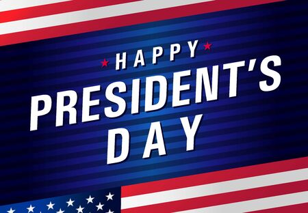 Happy Presidents day USA with flag. Vote in USA 2020, banner design patriotic background. American holiday of President`s Day 17th February. Vector illustration