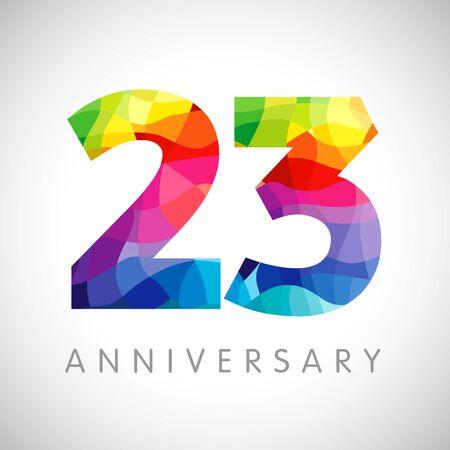 23 jarig jubileum nummers. 23 jaar oud logo. Helder gefeliciteerd. Geïsoleerde abstracte grafische web ontwerpsjabloon. Creatieve 2, 3 3D-cijfers. Tot 23% procent korting op kortingsidee. Gefeliciteerd concept. Logo