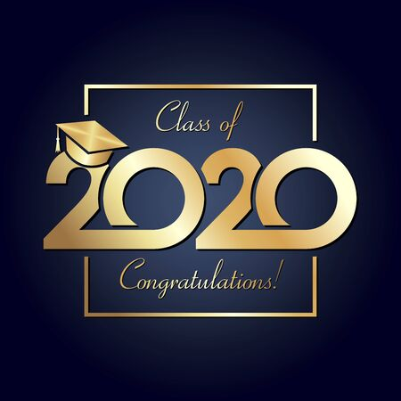 Class of 2020 year graduation banner, awards concept. Square shining sign, happy holiday invitation card, golden gradient. Isolated abstract graphic design template. Calligraphic text, dark background