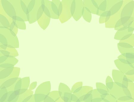 Green leaves frame. Spring, summer background with plant elements and transparent effects. Isolated abstract graphic design template. Happy holidays congrats. Presentation slide picture, standard size
