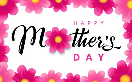 Happy Mothers Day elegant pink flower banner. Calligraphy vector text for Mother's day sale shopping special offer background. Best mom ever greeting card Illustration