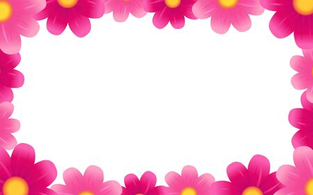 Beautiful pink flowers elegant background. Vector chamomile blossom decoration for greeting card