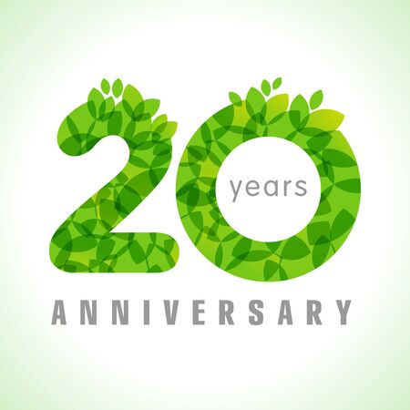 20 th anniversary numbers. 20 years old congrats. Congratulation sign with leaves. Isolated abstract graphic design template. Herbal digits, up to 20% percent off discount. Eco friendly label concept Vetores