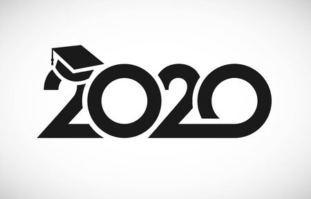 Class of 2020 graduation logo. T-shirt sign, monochrome vector mask concept. Happy holidays invitation card, congratulation black digits. Isolated abstract graphic design template. White background. Archivio Fotografico - 140829797