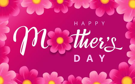 Happy Mothers Day pink flowers calligraphy background. Vector typography decoration for Mother's day banner or sale shopping special offer poster. Best mom ever greeting card
