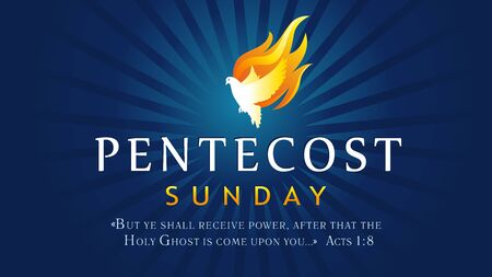 Pentecost sunday banner with Holy Spirit in flame. Template invitation for Pentecost day with dove in tongues fire and text Acts 1: 8. Vector illustration Vector Illustratie