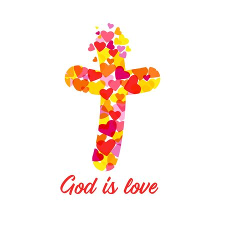 Cross logo God Is Love. Christian church sign. Colored crucifixion. Religious symbol and lettering. Greeting card or congrats concept. Abstract isolated graphic design template. T shirt creative idea 일러스트