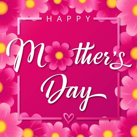 Happy Mothers Day pink flowers calligraphy square banner. Vector typography decoration for Mother's day illustration or sale shopping special offer poster. Best mom ever greeting card