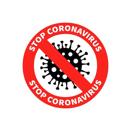 Coronavirus icon with red prohibit sign, 2019-nCoV bacteria. No infection and stop coronavirus concepts. Dangerous coronavirus cell in China, Wuhan. Isolated vector illustration