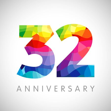32 nd anniversary numbers. 32 years old logotype. Bright congrats. Isolated abstract graphic web design template. Creative 2, 3 3D digits. Up to 32% percent off discount idea. Congratulation concept