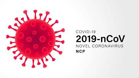 Novel Coronavirus (2019-nCoV). Virus Covid 19-NCP. Coronavirus nCoV denoted is single-stranded RNA virus. Outbreak Covid-19 background with viral cell red color. Vector illustration Vektorgrafik