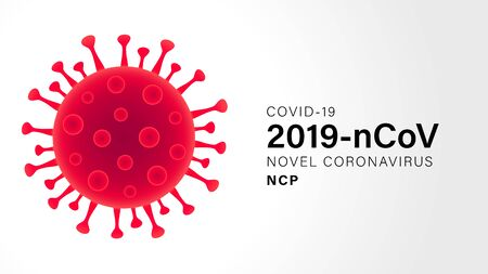 Novel Coronavirus (2019-nCoV). Virus Covid 19-NCP. Coronavirus nCoV denoted is single-stranded RNA virus. Outbreak Covid-19 background with viral cell red color. Vector illustration