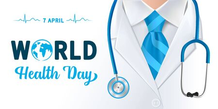 World Health Day, doctor and stethoscope design. Globe in text and normal cardiogram as a concept poster for World Health Day, April 7th. Vector illustration